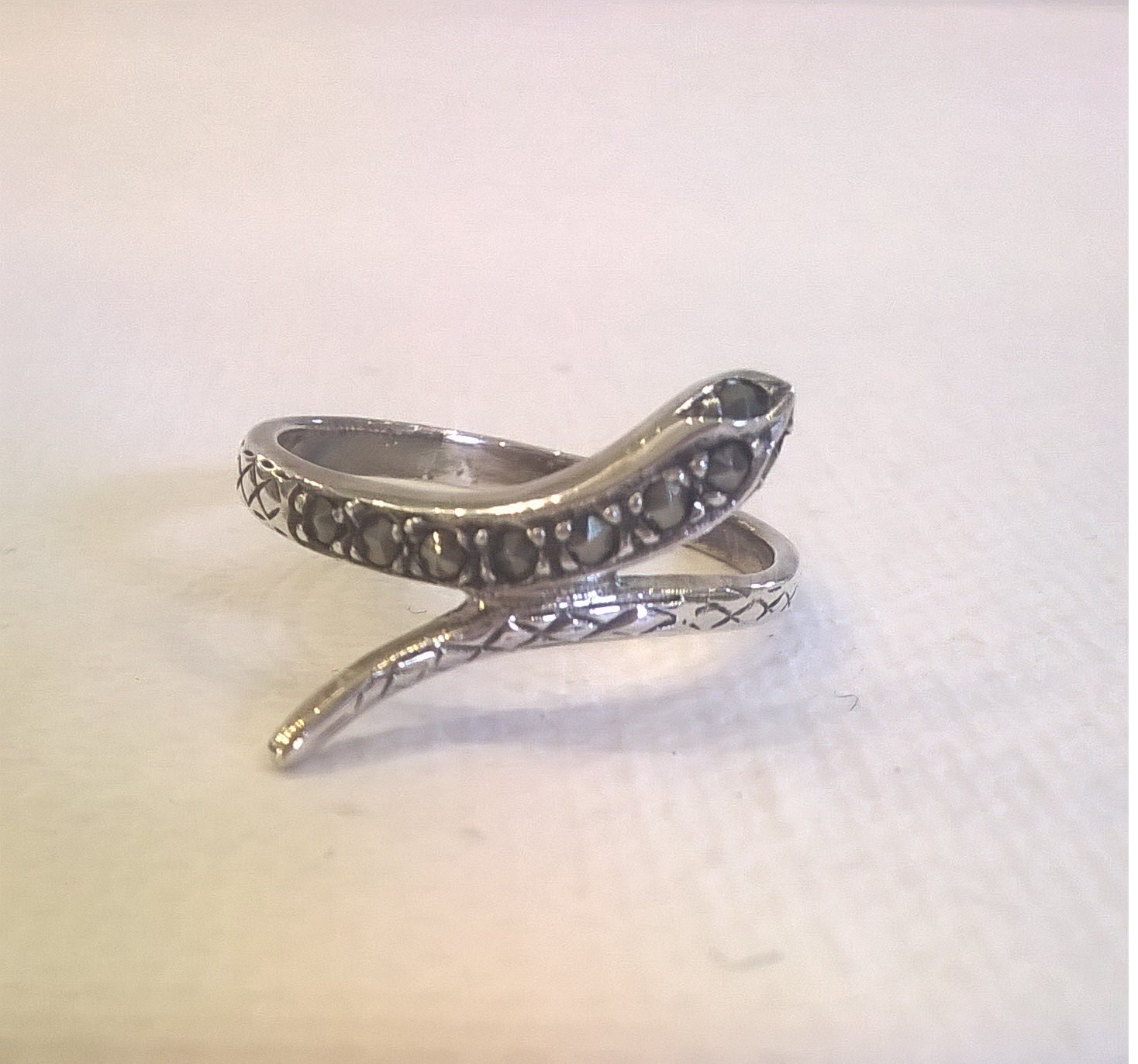 vintage sterling silver marcasite snake ring size 7 3 4 ring