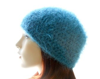 Mohair - Blend Hat, Women's Beanie Hat, Crochet Hat in Steel Blue, Small to Large Size