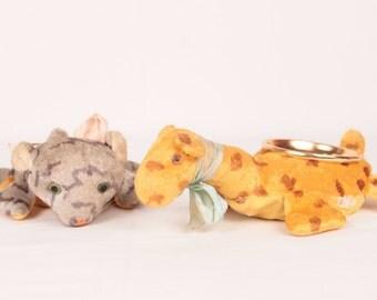 vintage stuffed animal ashtrays // set of 2