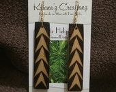 Ohe Kāpala Ihe (Spear Pattern) Design Bamboo Earrings