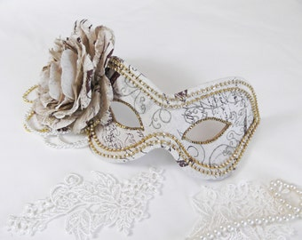 Vintage inspired Gold and Cream Masquerade Ball Mask