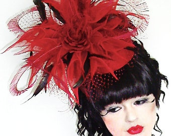 Poppy Red Pillbox Fascinator Hat