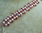 Beadwoven bracelet, bead weaving, bead woven handmade beaded jewelry