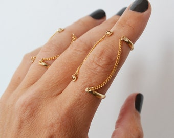 Open Cuff Double Chain Ring, Gold Filled Connected Knuckle Ring, Gold Midi Ring, Finger Chain Ring, Handcuff Ring