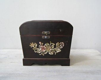Ornate Rustic Flower Wood Brown Chest Box, Miniature Luggage Case Wooden Treasure Storage Box, Vintage Shabby Desk organizer, Vanity Table