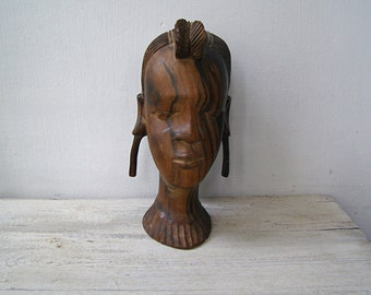 African Woman Head Sculpture, Handcarved Wood Figurine, Tribal Heavy Wood Statue Namibia Village Girl Primitive Decoration Wood Carving Head