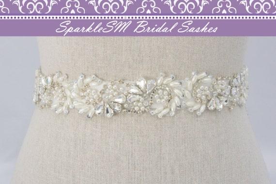 Rhinestone Bridal Sash, Rhinestone and Crystal Wedding Belt, Rhinestone Pearl Satin Sash, Jeweled Beaded Sash, Bridal Accessories, Evette