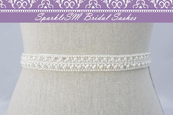 Bridal Sash, Wedding Sash, Bridal Belt, Crystal Sash, Rhinestone Sash, Jeweled Belt, Bridal Belt, Wedding Gown Belt Pearl Sash - Juliana