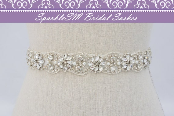 "Crystal Bridal Sash Rhinestone Bridal Beaded Crystal Rhinestone Sash Wedding Sash 18"" Pearl Bridal Sash, SparkleSM Bridal Sashes, Tierney"