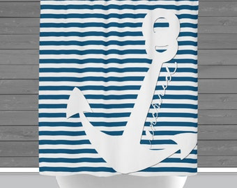 Stripe Shower Curtain: Anchored Anchor Teal Blue and White Stripe Nautical Design   Made in the USA   12 Hole Fabric Bathroom Decor