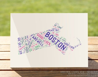 Farewell Boston Card   Good Luck Moving Well Wishes Greeting Card   A7 5x7 Folded - Blank Inside - Wholesale Available