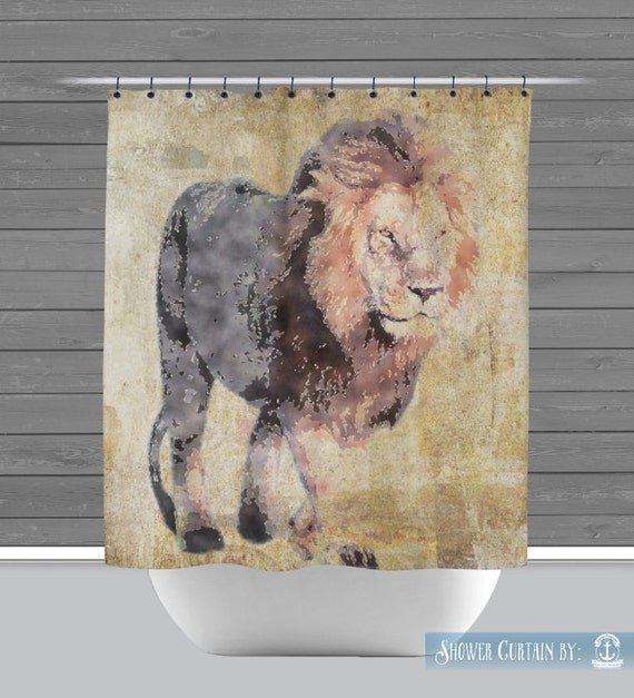 Lion Shower Curtain: Exotic Animal Desert Home Decor | Button Holes or ...