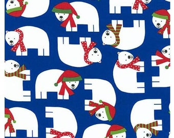 Jingle Polar Bears on Royal Blue From Robert Kaufman's Jingle 3 Collection By Ann Kelle