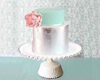 "16"" Milk Glass Cake Stand / Milk Glass Cake Pedestal / Milk Glass Cake Plate Pedestal / Vintage Weddings White Weddings / Fenton Silvercrest"