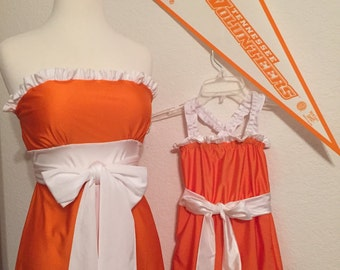 Mommy & Me Little Miss Huddle Up Gameday Dress Vols True Colors