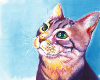 "8x10"" Colorful Cat Watercolor Giclee Fine Art Print [Watercolor Cat Print, Cat Wall Art, Cat Painting, Animal Art, Cat Artwork]"