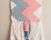 Woven Tapestry / Peach Light Blue / Woven Wall Hanging