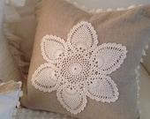 CLASSIC 'Linen and Lace' - Large Feather  Pillow - Natural Linen, Vintage Chenille, Linen, Vintage Crochet