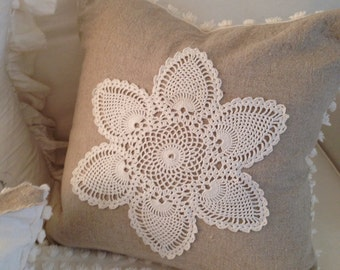 CLASSIC 'Linen and Lace' - Large Feather  Pillow - Natural Linen, Vintage Chenille, Linen, Vintage Crochet