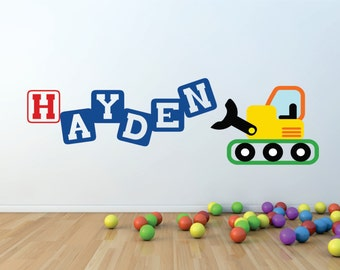 Front Loader Decor - Small Decal - Truck Wall Decal - Childrens Wall Decal -  Front Loader Wall Art - Wall Decal