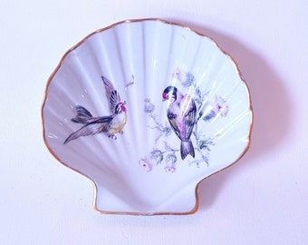 Vintage China French Limoge Candy Dish Bowl Scallop Seashell Dish Limoge Soap Dish Bed Bath Decor Ornate Bird China Dish Limoge Bird Dish