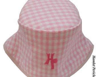 Pink Gingham Women's Bucket Hat | Pink and White Hat | Check | Checkered Hat | Pink Hat | Girl Hat | Gingham Hat by Hamlet Pericles | HP1415
