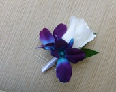 Rose galaxy orchid boutonniere, purple blue orchid boutonniere, rose and orchid boutonniere