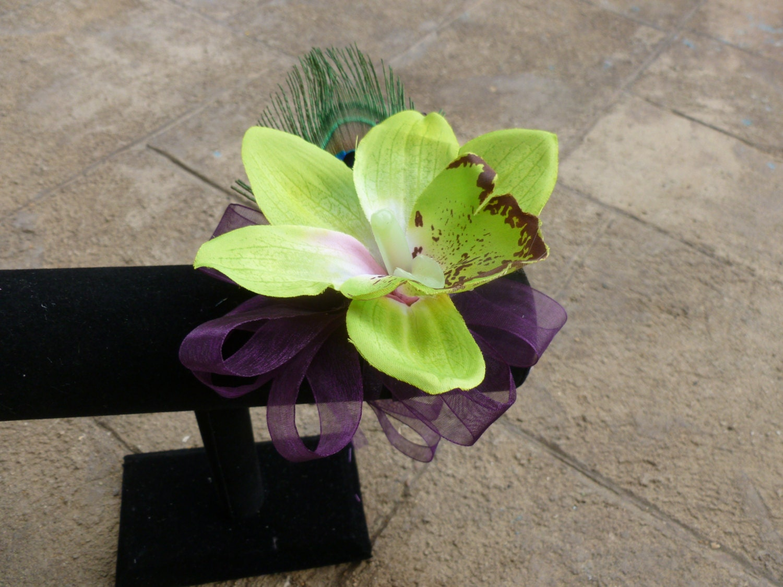 Cymbidium Orchid Wrist Corsages: Cymbidium Orchid Corsage Wrist Corsag Peacock Feather