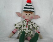 CHRISTMAS Elf Green And White Stripe Hat With Red Pom Pom SALE All Elves 15% off with coupon code ELVES