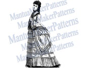 "Victorian Dress Engraving, 11"" tall, Instant Digital Download, JPG & PNG, 1871 #18"