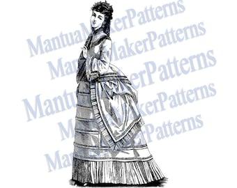 "Victorian Dress Engraving, 11"" tall, Instant Digital Download, JPG & PNG, 1871 #18"