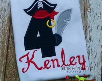 Boy's Fourth Birthday Pirate Top Sizes 3T-5T, 6