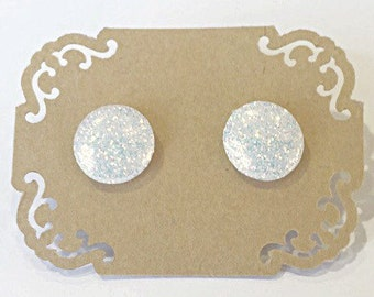 Hand Painted Holographic White Glitter Stud Earrings