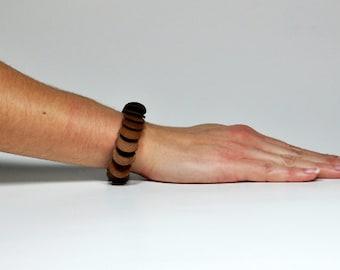 Modern Leather Bangle - Leather Pattern Bracelet - Leather Tab Bracelet