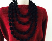 Infinity Bubble Loop Scarf Necklace in Black, Cowl, USA seller