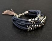 Layered Bracelet, Grey Bracelet, Jersey Bracelet, Woven Bracelet, Fabric Bracelet, Boho Bracelet, Broad Bracelet