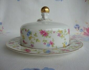 Heinrich H & C Selb Bavaria Germany covered butter dish dome floral porcelain