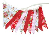 Traditional Roses Pink, White & Red Flag Bunting with Lace.  HANDMADE . Wall hanging, Birthday Party Banner, Market Stall Decoration