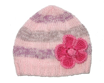 SALE * Girls Retro HANDMADE Pink Knitted Stripe Wool Beanie Hat with Large Flower . Gift Idea . Size - Age: 2 3 4 5 . OOAK .