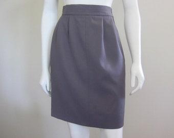 Yves Saint Laurent / YSL / High Waisted Skirt / 1980s / Gabardine / Designer Clothing /