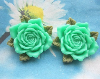 Large--2pc 45mm Blue resin  flower cabochon/cameo charms--rose flower with green leaves