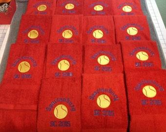 11 Personalized softball or baseball towel, solid ball