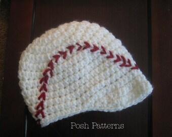 Crochet PATTERN - Baseball Hat Crochet Pattern - Crochet Hat Pattern - Crochet Pattern Boys - Baby, Toddler, Child Sizes - PDF 259