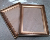 Shabby Vintage Decor, Mid Century Frames, 5 x 7 Pair of Frames, Gold Metal Frames From The 50's
