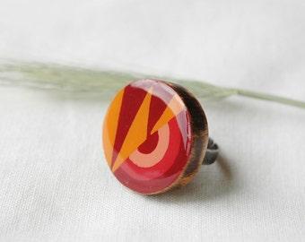 Circular ring,colorful ring,statement ring, orange red ring,bohemian ring