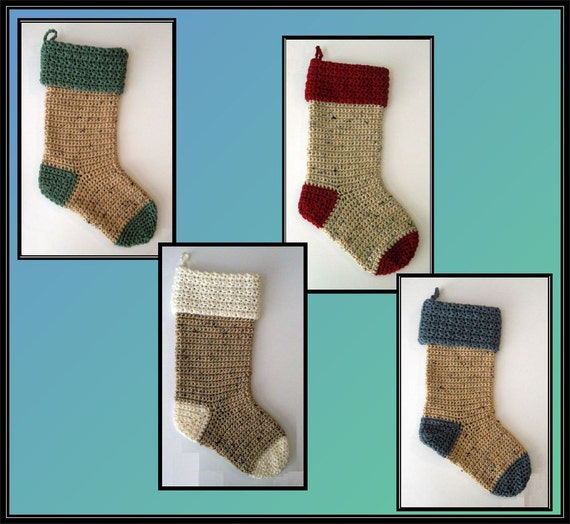 Crocheted old fashioned christmas stocking made to order for Fashion christmas stockings