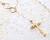 Gold Cross and Infinity Necklace, Infinity Lariat Necklace, Cross Necklace, 14K gold filled, spring, bridal jewelry, weddings, Christian