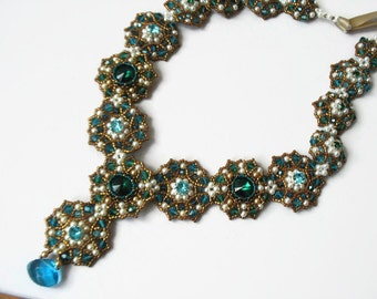 Beadwoven necklace vintage style with Swarovski elements. Handmade beaded necklace. Beadweaving necklece bronze blue green colors.