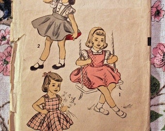 Advance Vintage Sewing Pattern 6157  Girls Blouse and Jumper Size 8 1953