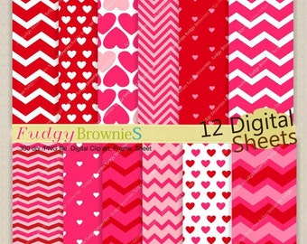 ON SALE ,Digital Paper pack, valentine's, wedding, engagement , hearts , 12x12 , No.150//2 background, hot pink and red ,  instant downl